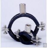 Black Rubber with Rubber Heavy Duty Wall Mount Pipe Clamp